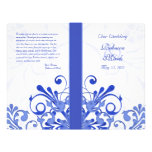 Blue and White Abstract Floral Wedding Program Flyers