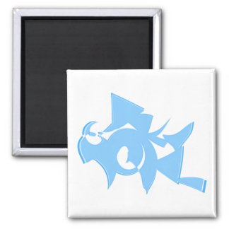 Blue and White Abstract Geometric Graphic. Square Magnet