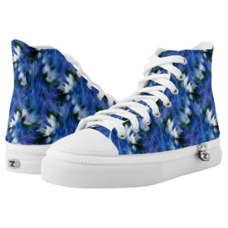 Blue And White Abstract Pattern High Tops