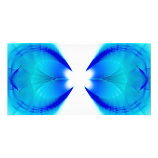 Blue and White Abstract Customized Photo Card