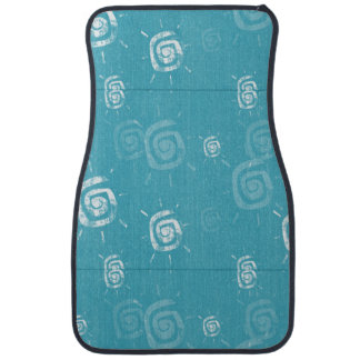 Blue and White Abstract Swirl Pattern Floor Mat