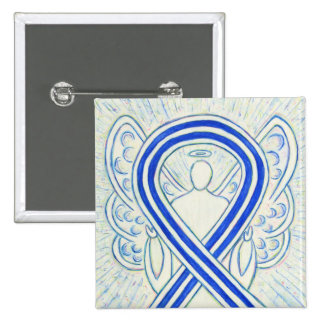 Blue and White ALS Ribbon Awareness Angel Pin