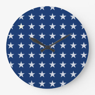 Blue and White American Stars Clock