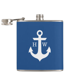 Blue and White Anchor Monogram Hip Flasks