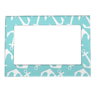 Blue and White Anchor Print Frame Magnetic Frames