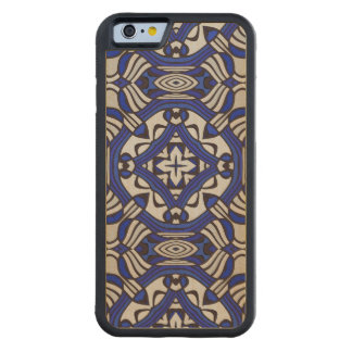 Blue and white Arabesque Carved® Maple iPhone 6 Bumper