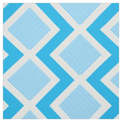 Blue and White Argyle Print Chevron Fabric