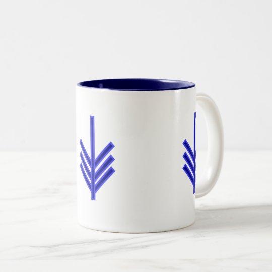 Blue and white arrow pattern design mug