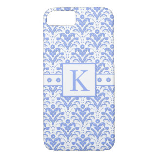 Blue and White Art Deco Vintage Damask iPhone 8/7 Case