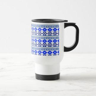 Blue and White Aztec Stripe Pattern Travel Mug