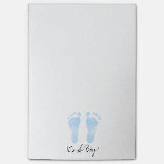 Blue and White Baby Footprints Post-it Notes