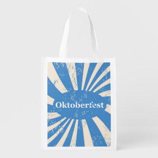 Blue and white background reusable grocery bag