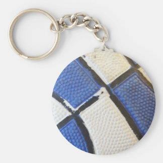 Blue and White Basketball Keychain