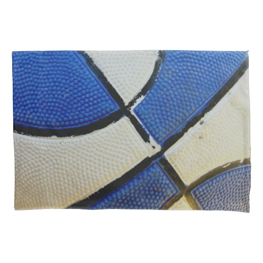 Blue and White Basketball Pillow Case