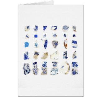 Blue and White Beach China Card