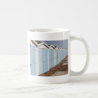 Blue and White Beach Huts Basic White Mug