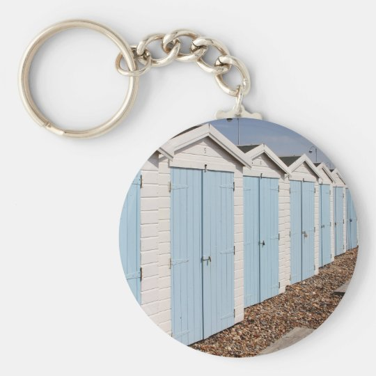 Blue and White Beach Huts Key Ring