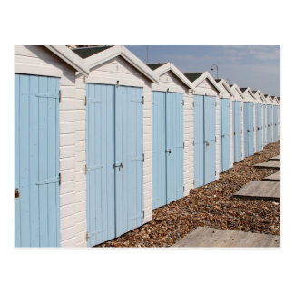 Blue and White Beach Huts Post Card