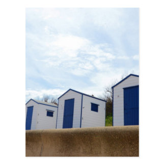 Blue And White Beach Huts Postcard