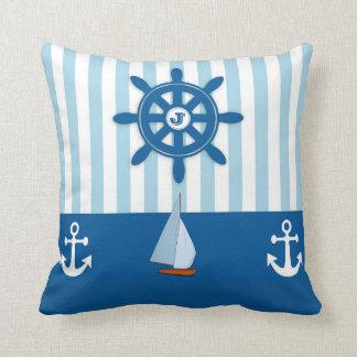 Blue and white Beach  Nautical Monogrammed design. Cushion