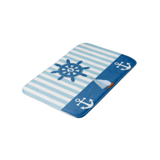 Blue and white Beach themed monogramed design. Bath Mat