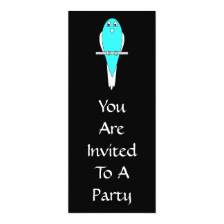 Blue and White Bird. Parakeet. Black. 10 Cm X 24 Cm Invitation Card