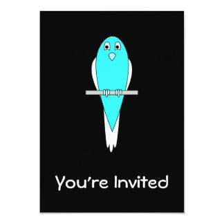 Blue and White Bird. Parakeet. Black. 13 Cm X 18 Cm Invitation Card