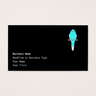 Blue and White Bird. Parakeet. Black. Business Card
