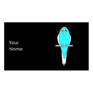 Blue and White Bird Parakeet Black Business Cards