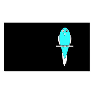 Blue and White Bird. Parakeet. Black. Business Card
