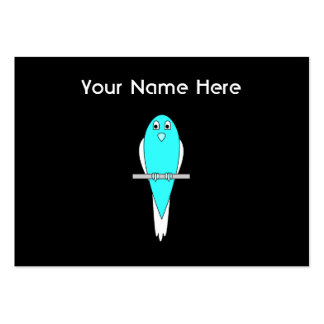 Blue and White Bird. Parakeet. Black. Pack Of Chubby Business Cards