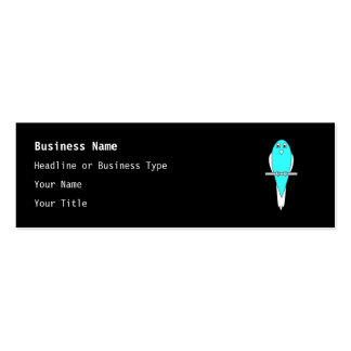 Blue and White Bird. Parakeet. Black. Pack Of Skinny Business Cards