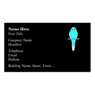 Blue and White Bird. Parakeet. Black. Pack Of Standard Business Cards