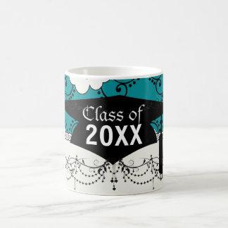 blue and white boho chic flower damask graduation basic white mug