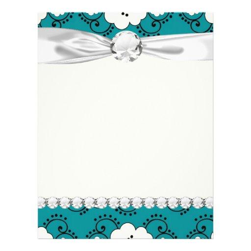 blue and white boho chic flower damask pattern custom flyer