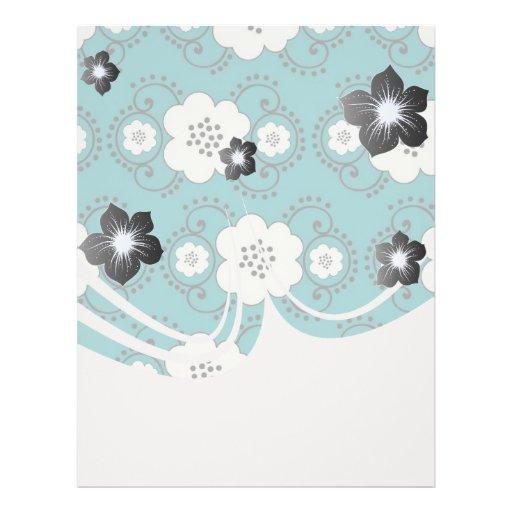 blue and white boho chic flower damask pattern flyers