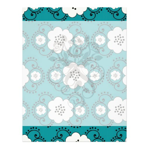 blue and white boho chic flower damask pattern personalized flyer
