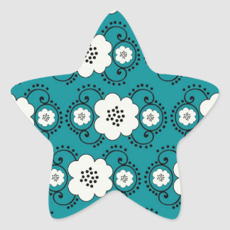 blue and white boho chic flower damask pattern star sticker