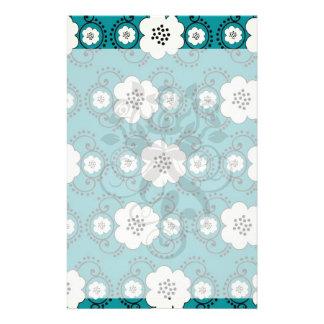 blue and white boho chic flower damask pattern customized stationery