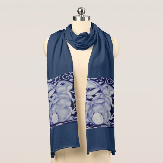 Blue and White Bunny Mum Beautiful Navy Scarf