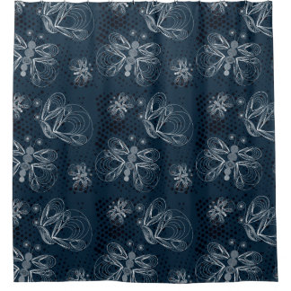 Blue and white butterflies retro design shower curtain