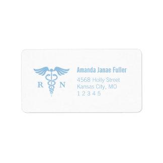 Blue and White Caduceus Nurse Address Labels