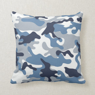 Blue and White Camouflage Cushion