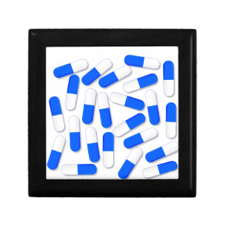 Blue And White Capsules Small Square Gift Box