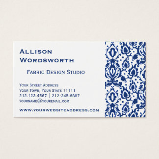 Blue and White Casbah Damask Business Card