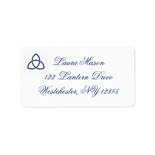 Blue and White Celtic Love Knot Address Label