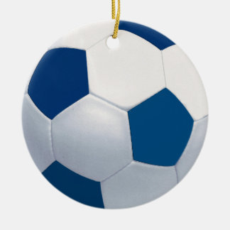 Blue and White Ceramic Soccer Ball Ornament
