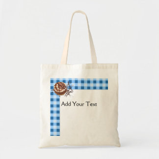 Blue and White Checked Plaid Dessert Canvas Bag