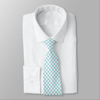Blue and White Checker Pattern Tie