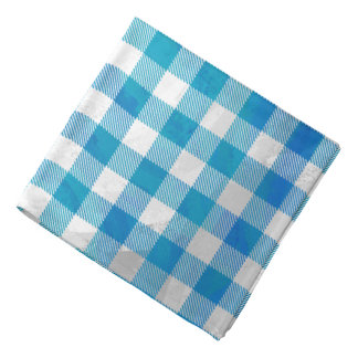 Blue and White Checkered Buffalo Plaid Bandana